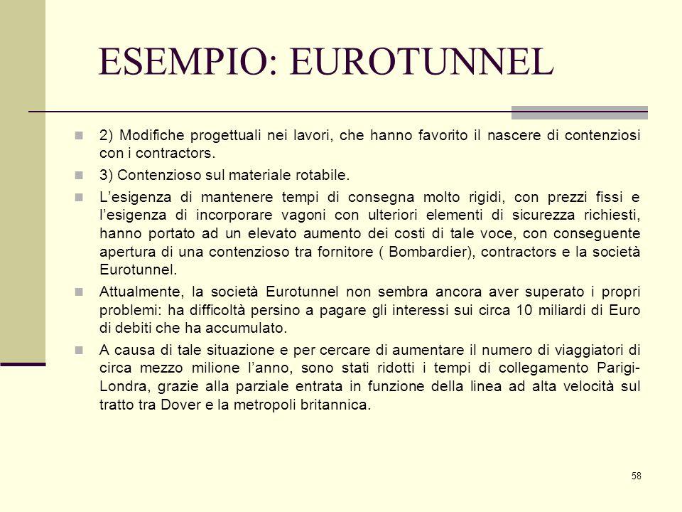 58 ESEMPIO: EUROTUNNEL 2) Modifiche progettuali nei lavori, che hanno favorito il nascere di contenziosi con i contractors. 3) Contenzioso sul materia