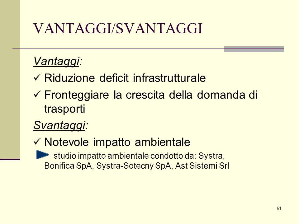61 Vantaggi: Riduzione deficit infrastrutturale Fronteggiare la crescita della domanda di trasporti Svantaggi: Notevole impatto ambientale studio impa