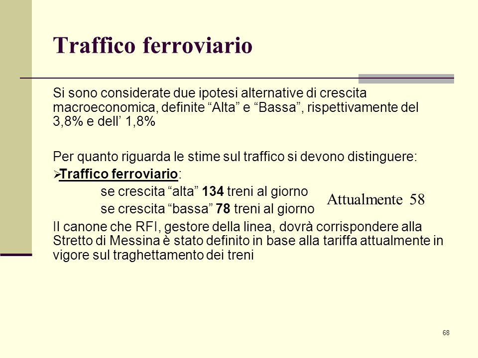 """68 Traffico ferroviario Si sono considerate due ipotesi alternative di crescita macroeconomica, definite """"Alta"""" e """"Bassa"""", rispettivamente del 3,8% e"""
