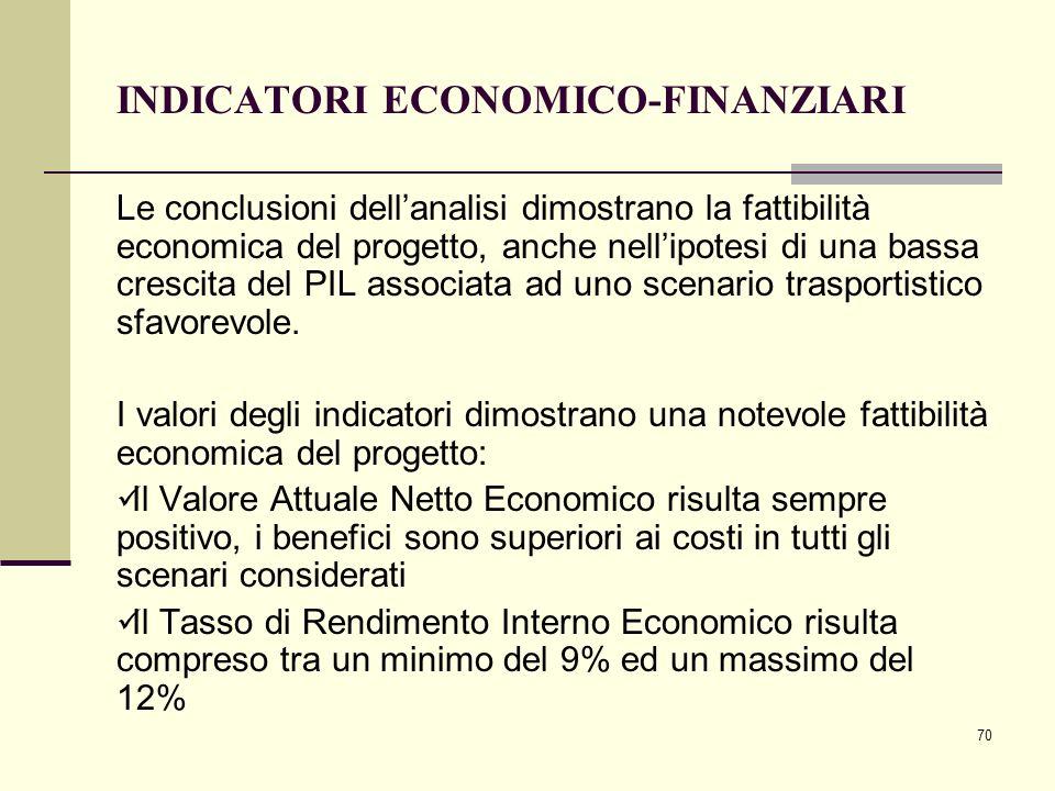 70 INDICATORI ECONOMICO-FINANZIARI Le conclusioni dell'analisi dimostrano la fattibilità economica del progetto, anche nell'ipotesi di una bassa cresc