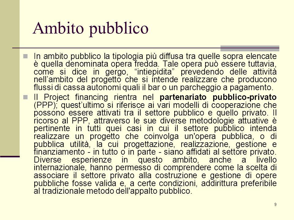 40 GLI INDICATORI BASE DI UN PROGETTO (1) Oltre al calcolo del VAN e del TIR del progetto, nell'ambito del P.F.