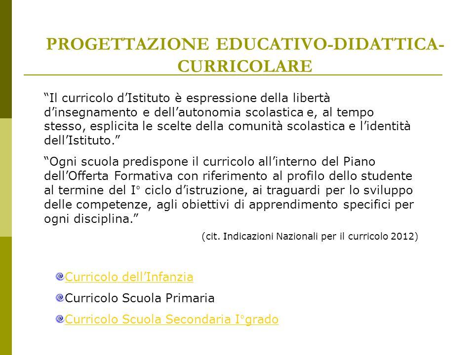 """PROGETTAZIONE EDUCATIVO-DIDATTICA- CURRICOLARE """"Il curricolo d'Istituto è espressione della libertà d'insegnamento e dell'autonomia scolastica e, al t"""