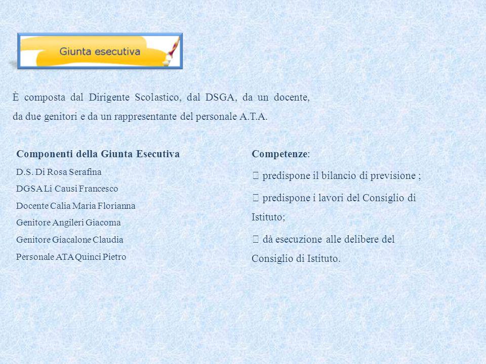 È composta dal Dirigente Scolastico, dal DSGA, da un docente, da due genitori e da un rappresentante del personale A.T.A.