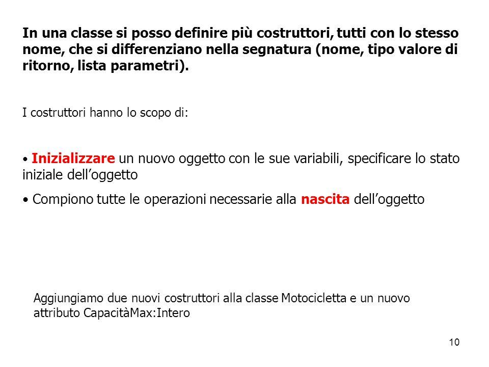 10 In una classe si posso definire più costruttori, tutti con lo stesso nome, che si differenziano nella segnatura (nome, tipo valore di ritorno, list