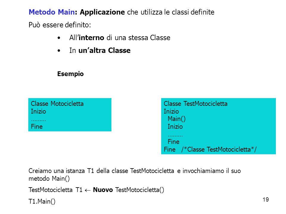 19 Metodo Main: Applicazione che utilizza le classi definite Può essere definito: All'interno di una stessa Classe In un'altra Classe Esempio Classe M