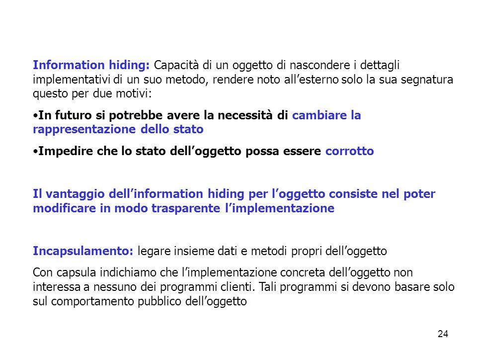 24 Information hiding: Capacità di un oggetto di nascondere i dettagli implementativi di un suo metodo, rendere noto all'esterno solo la sua segnatura