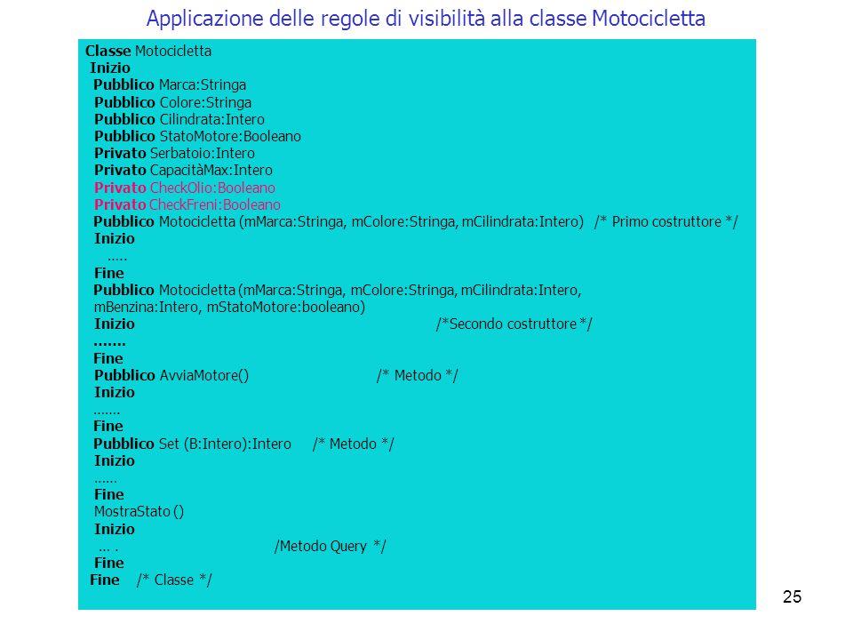 25 Applicazione delle regole di visibilità alla classe Motocicletta Classe Motocicletta Inizio Pubblico Marca:Stringa Pubblico Colore:Stringa Pubblico