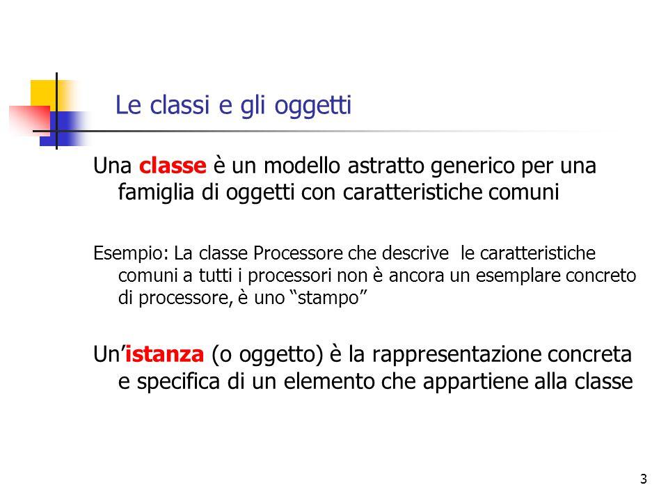 3 Le classi e gli oggetti Una classe è un modello astratto generico per una famiglia di oggetti con caratteristiche comuni Esempio: La classe Processo