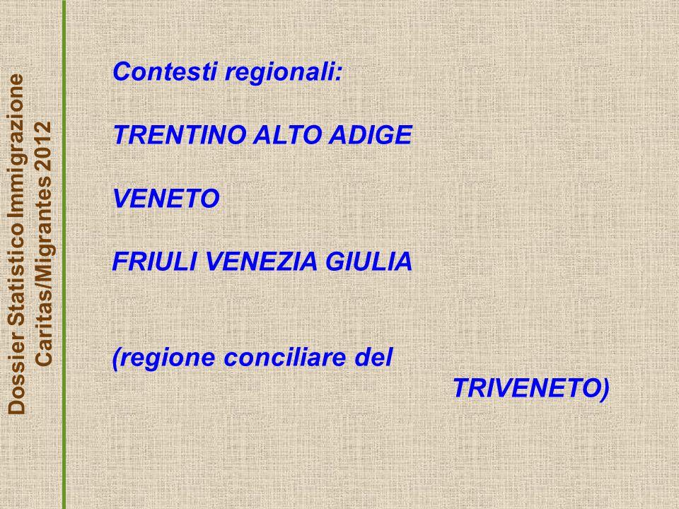 Dossier Statistico Immigrazione Caritas/Migrantes 2012 Contesti regionali: TRENTINO ALTO ADIGE VENETO FRIULI VENEZIA GIULIA (regione conciliare del TRIVENETO)