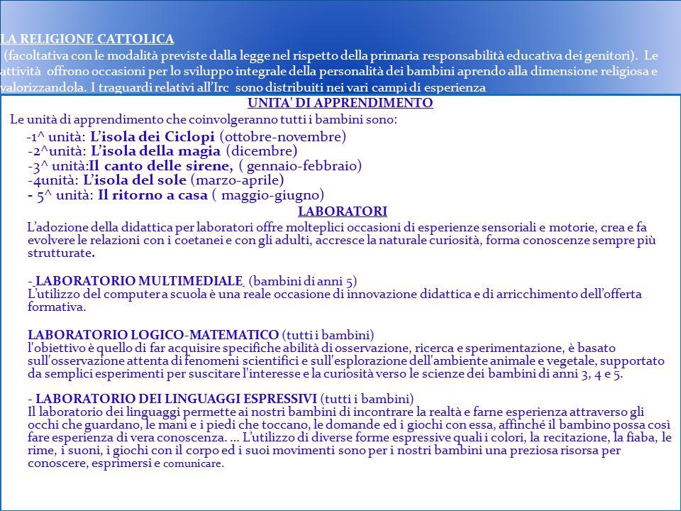 LA RELIGIONE CATTOLICA (facoltativa con le modalità previste dalla legge nel rispetto della primaria responsabilità educativa dei genitori). Le attivi