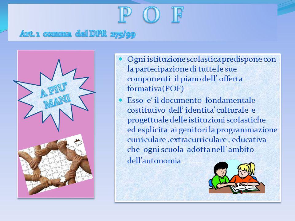 Ogni istituzione scolastica predispone con la partecipazione di tutte le sue componenti il piano dell' offerta formativa(POF) Esso e' il documento fon