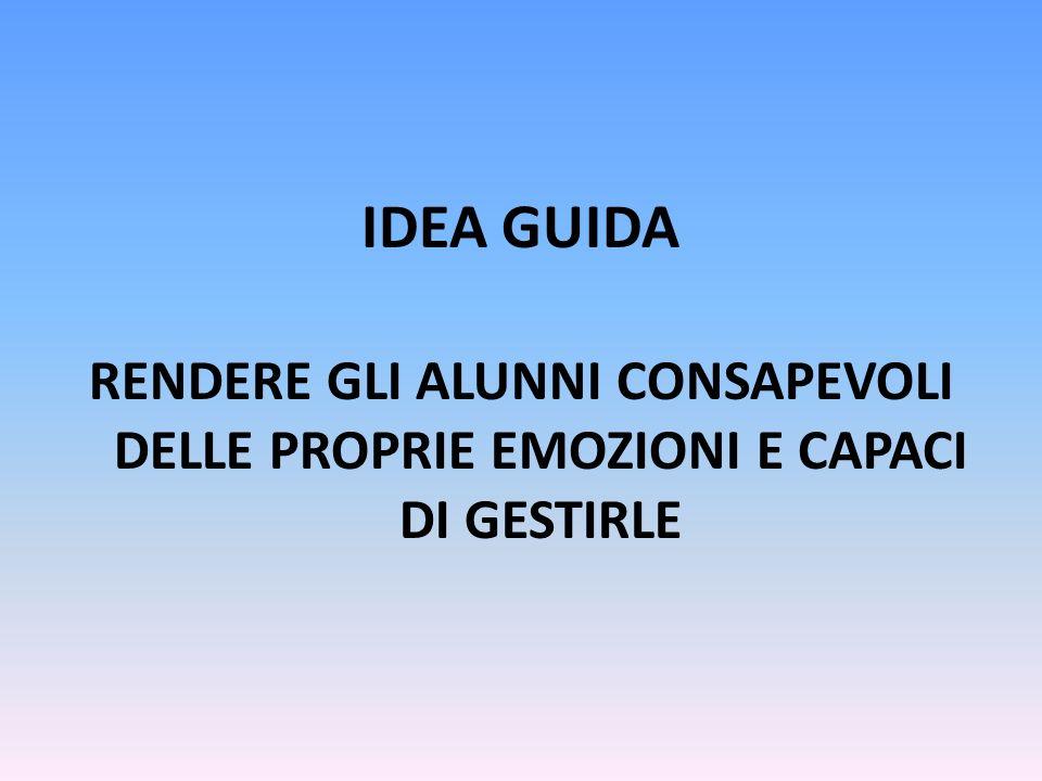 IDEA GUIDA RENDERE GLI ALUNNI CONSAPEVOLI DELLE PROPRIE EMOZIONI E CAPACI DI GESTIRLE