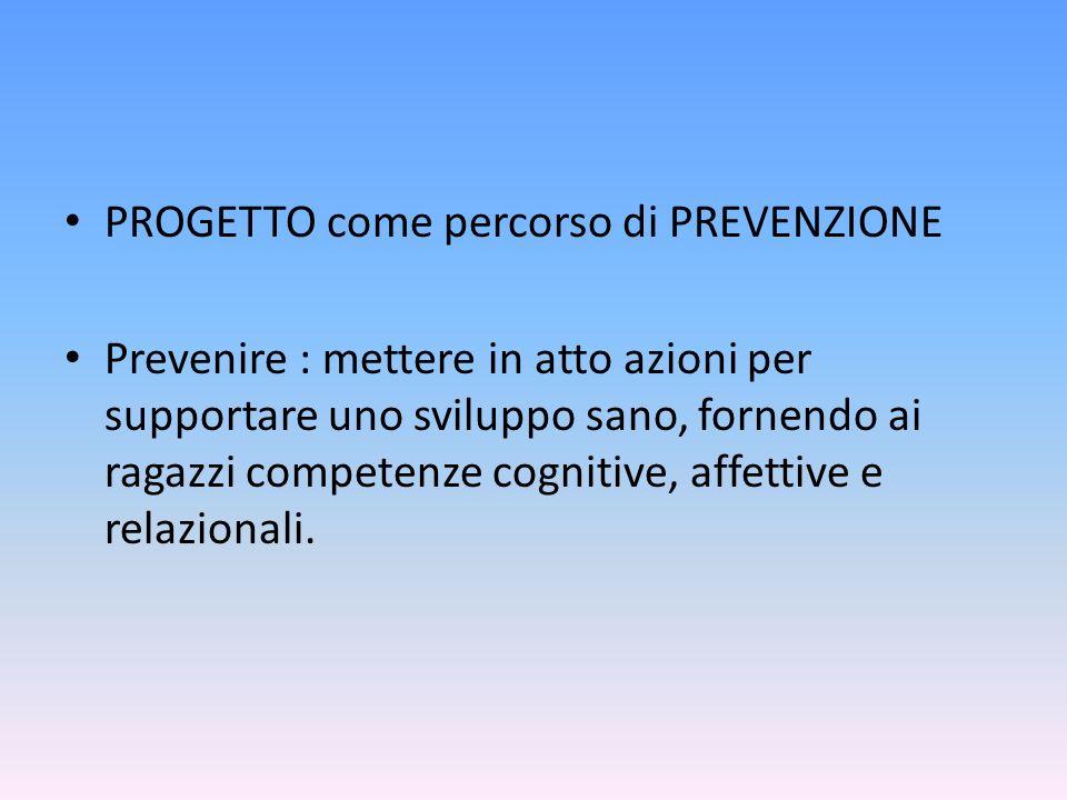 PROGETTO come percorso di PREVENZIONE Prevenire : mettere in atto azioni per supportare uno sviluppo sano, fornendo ai ragazzi competenze cognitive, a