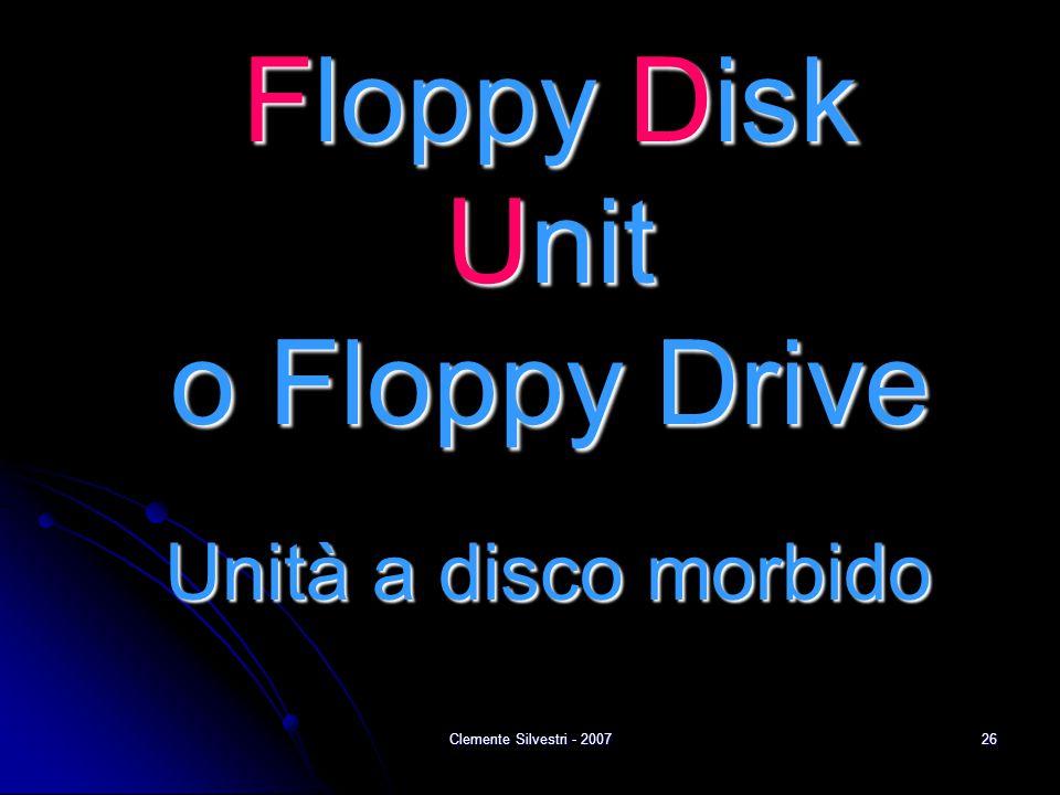 Clemente Silvestri - 200726 Floppy Disk Unit o Floppy Drive Unità a disco morbido