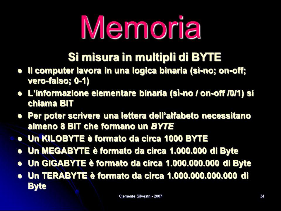 Clemente Silvestri - 200734 Memoria Si misura in multipli di BYTE Il computer lavora in una logica binaria (sì-no; on-off; vero-falso; 0-1) Il computer lavora in una logica binaria (sì-no; on-off; vero-falso; 0-1) L'informazione elementare binaria (sì-no / on-off /0/1) si chiama BIT L'informazione elementare binaria (sì-no / on-off /0/1) si chiama BIT Per poter scrivere una lettera dell'alfabeto necessitano almeno 8 BIT che formano un BYTE Per poter scrivere una lettera dell'alfabeto necessitano almeno 8 BIT che formano un BYTE Un KILOBYTE è formato da circa 1000 BYTE Un KILOBYTE è formato da circa 1000 BYTE Un MEGABYTE è formato da circa 1.000.000 di Byte Un MEGABYTE è formato da circa 1.000.000 di Byte Un GIGABYTE è formato da circa 1.000.000.000 di Byte Un GIGABYTE è formato da circa 1.000.000.000 di Byte Un TERABYTE è formato da circa 1.000.000.000.000 di Byte Un TERABYTE è formato da circa 1.000.000.000.000 di Byte