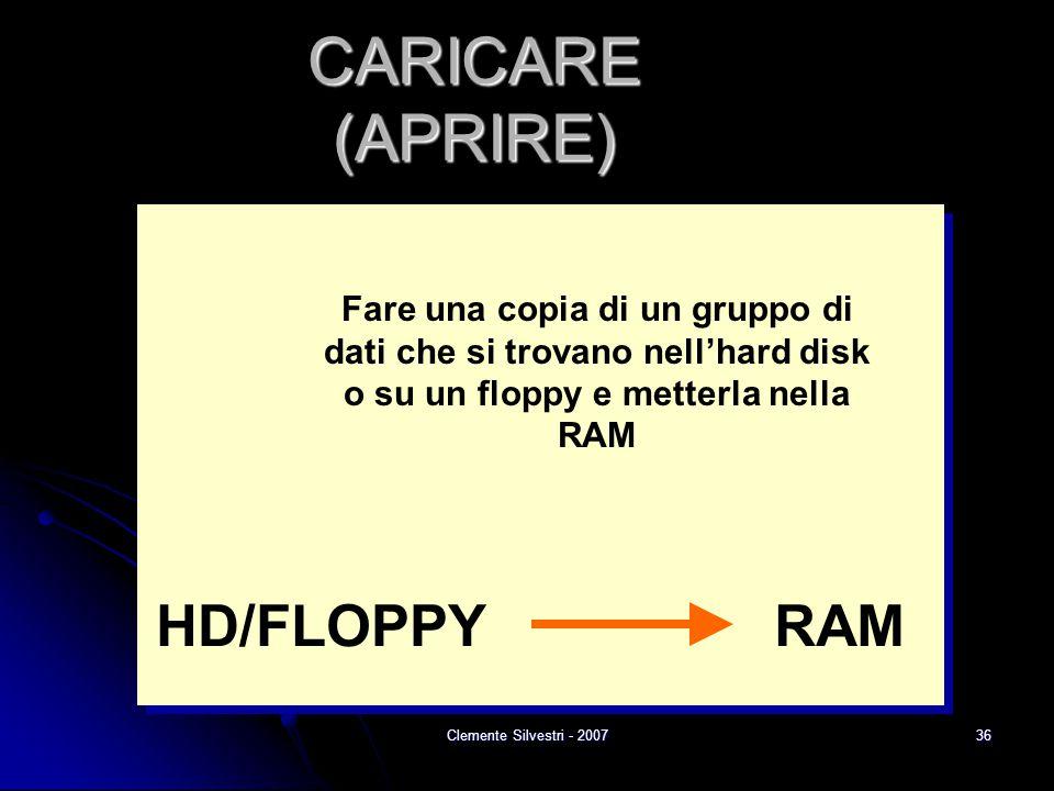 Clemente Silvestri - 200736 CARICARE (APRIRE) RAMHD/FLOPPY Fare una copia di un gruppo di dati che si trovano nell'hard disk o su un floppy e metterla nella RAM