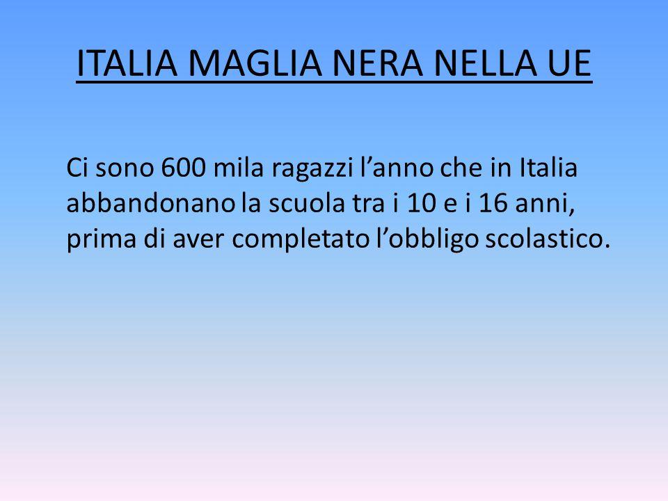 ITALIA MAGLIA NERA NELLA UE Ci sono 600 mila ragazzi l'anno che in Italia abbandonano la scuola tra i 10 e i 16 anni, prima di aver completato l'obbli