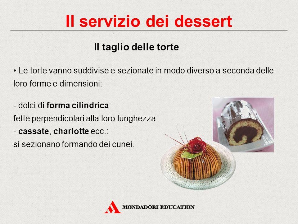 Le torte vanno suddivise e sezionate in modo diverso a seconda delle loro forme e dimensioni: - torte rettangolari piccole - torte rettangolari medie e grandi Il servizio dei dessert Il taglio delle torte