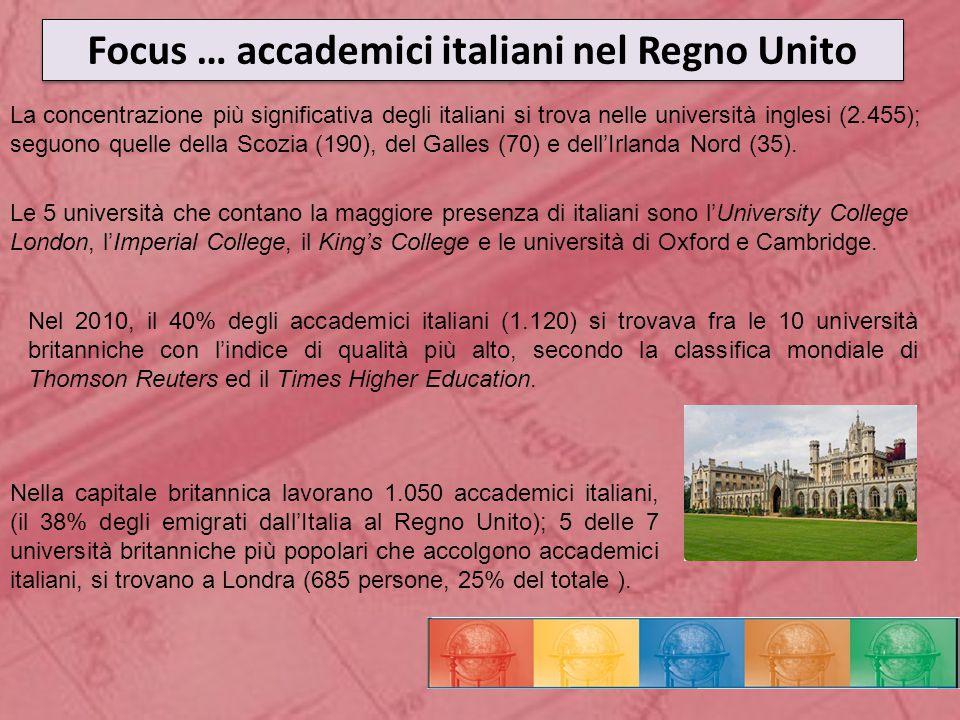 Focus … accademici italiani nel Regno Unito Le 5 università che contano la maggiore presenza di italiani sono l'University College London, l'Imperial College, il King's College e le università di Oxford e Cambridge.