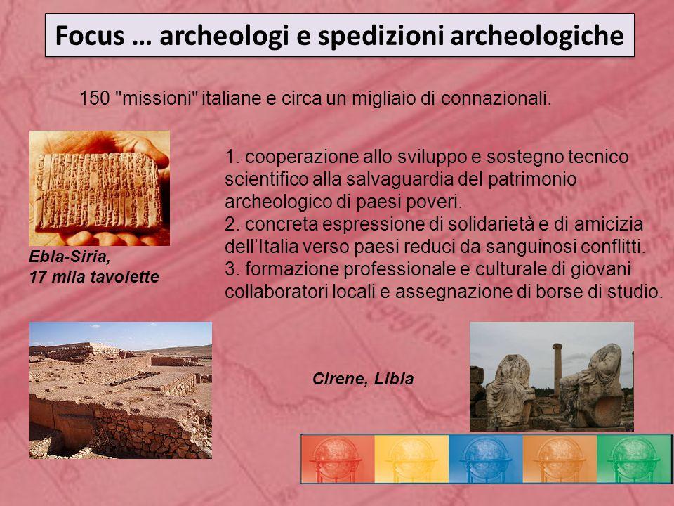 Focus … archeologi e spedizioni archeologiche 150 missioni italiane e circa un migliaio di connazionali.
