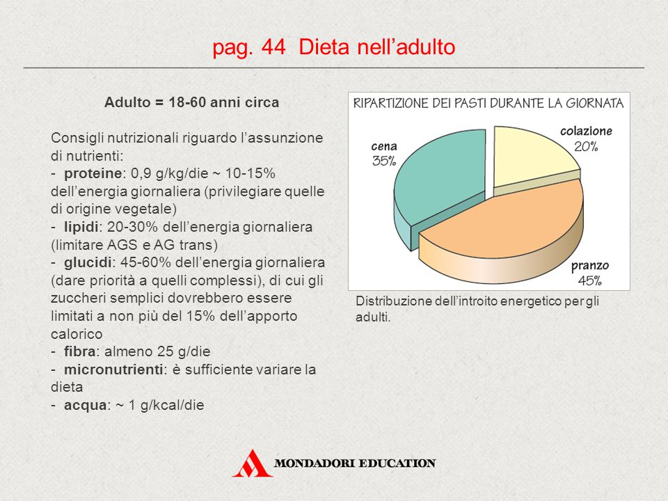Adulto = 18-60 anni circa Consigli nutrizionali riguardo l'assunzione di nutrienti: - proteine: 0,9 g/kg/die ~ 10-15% dell'energia giornaliera (privilegiare quelle di origine vegetale) - lipidi: 20-30% dell'energia giornaliera (limitare AGS e AG trans) - glucidi: 45-60% dell'energia giornaliera (dare priorità a quelli complessi), di cui gli zuccheri semplici dovrebbero essere limitati a non più del 15% dell'apporto calorico - fibra: almeno 25 g/die - micronutrienti: è sufficiente variare la dieta - acqua: ~ 1 g/kcal/die pag.