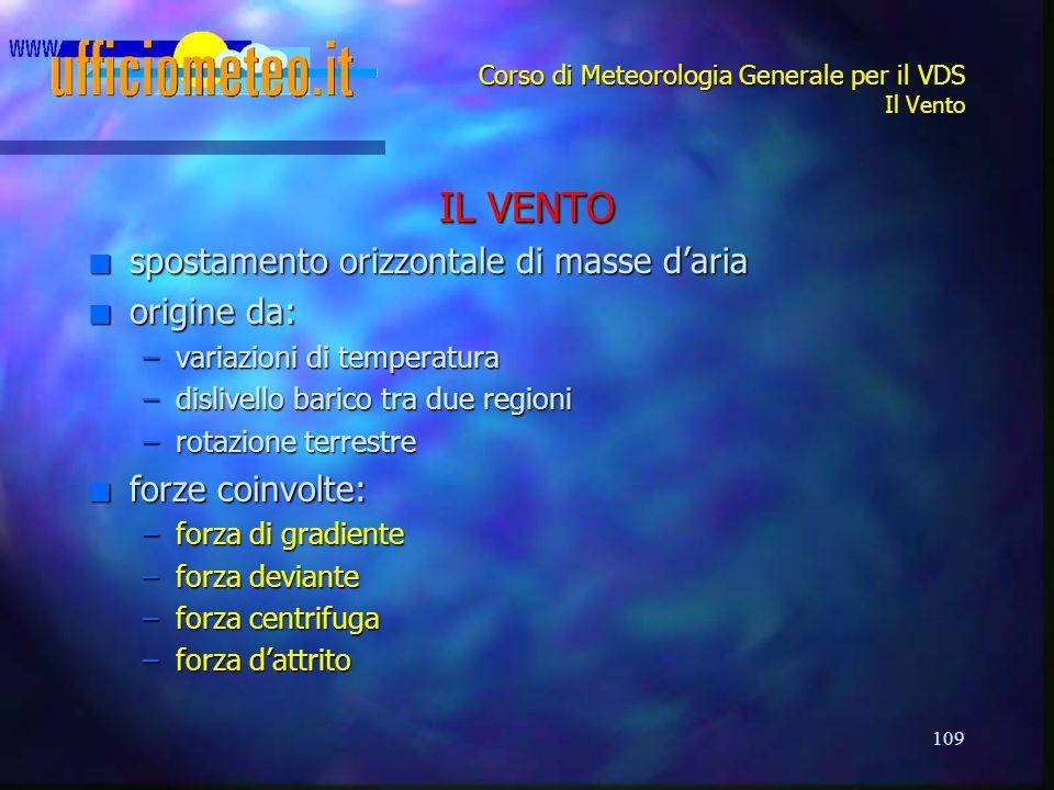 109 Corso di Meteorologia Generale per il VDS Il Vento IL VENTO n spostamento orizzontale di masse d'aria n origine da: –variazioni di temperatura –di