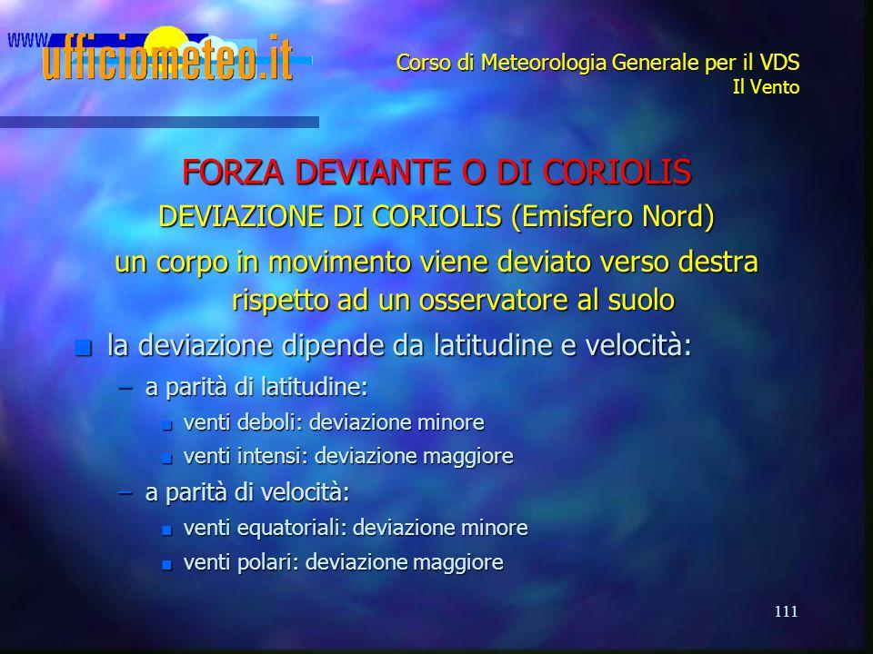111 Corso di Meteorologia Generale per il VDS Il Vento FORZA DEVIANTE O DI CORIOLIS DEVIAZIONE DI CORIOLIS (Emisfero Nord) un corpo in movimento viene