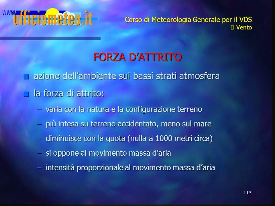 113 Corso di Meteorologia Generale per il VDS Il Vento FORZA D'ATTRITO n azione dell'ambiente sui bassi strati atmosfera n la forza di attrito: –varia