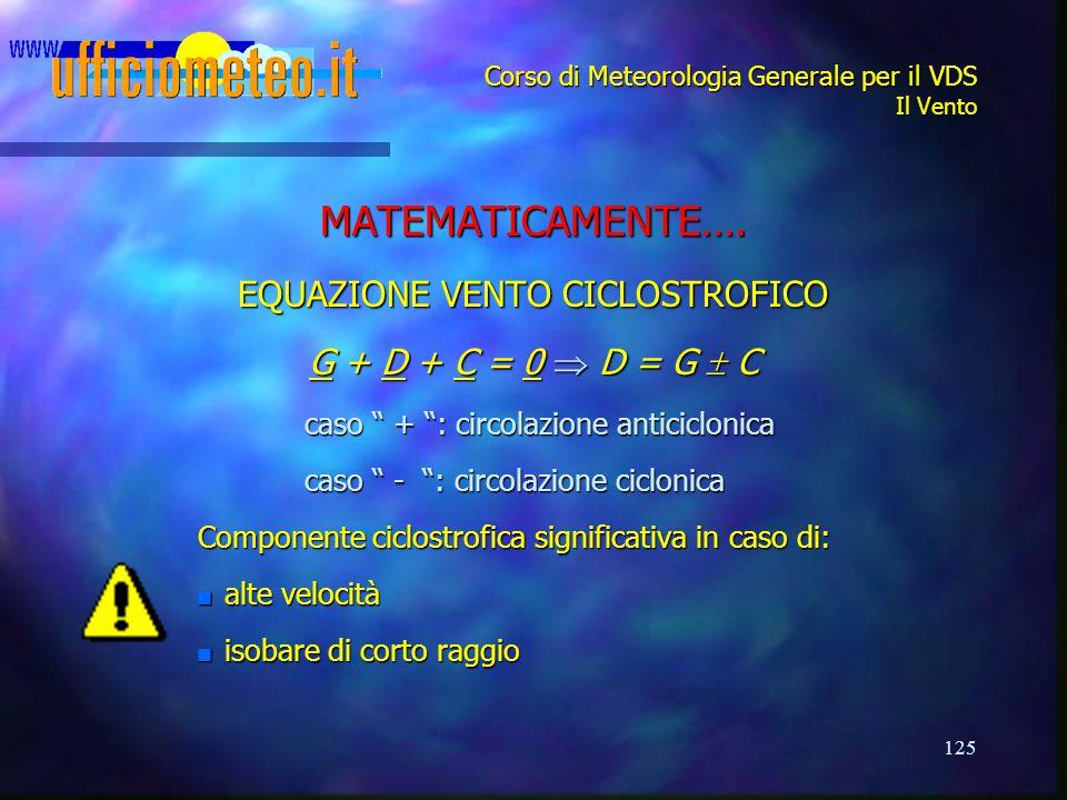 """125 Corso di Meteorologia Generale per il VDS Il Vento MATEMATICAMENTE…. EQUAZIONE VENTO CICLOSTROFICO G + D + C = 0  D = G  C caso """" + """": circolazi"""
