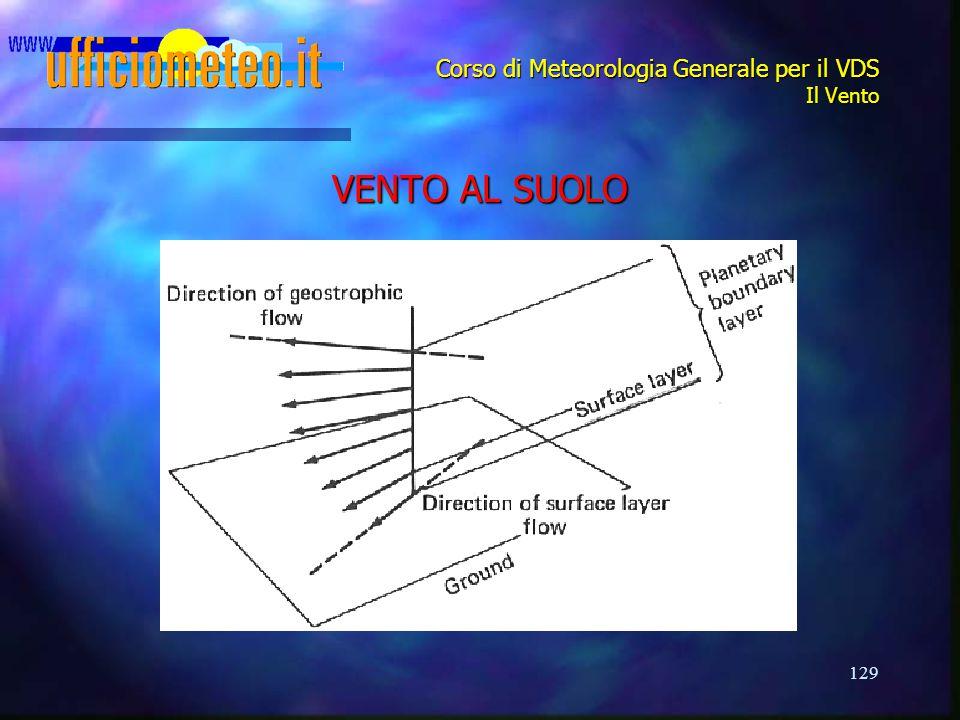 129 Corso di Meteorologia Generale per il VDS Il Vento VENTO AL SUOLO