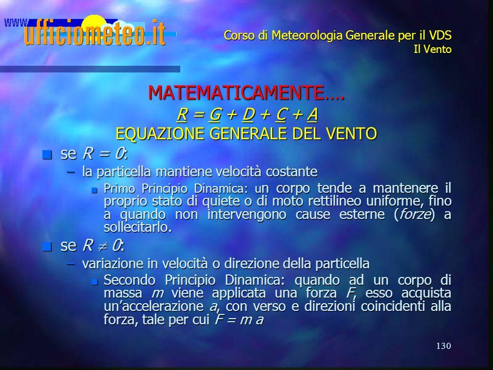 130 Corso di Meteorologia Generale per il VDS Il Vento MATEMATICAMENTE…. R = G + D + C + A EQUAZIONE GENERALE DEL VENTO n se R = 0: –la particella man