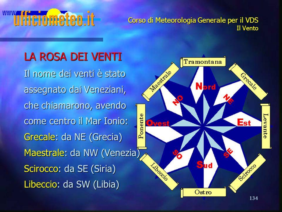 134 Corso di Meteorologia Generale per il VDS Il Vento LA ROSA DEI VENTI Il nome dei venti è stato assegnato dai Veneziani, che chiamarono, avendo com