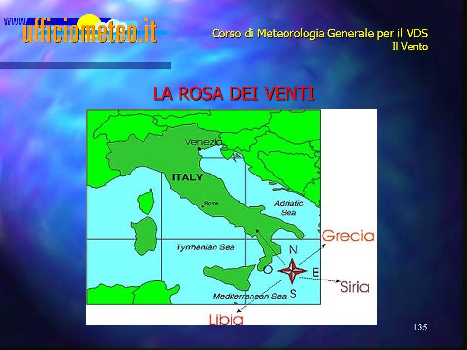 135 Corso di Meteorologia Generale per il VDS Il Vento LA ROSA DEI VENTI