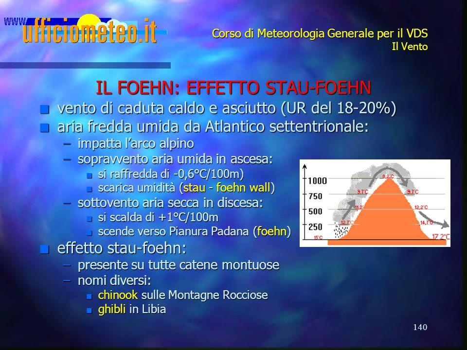 140 Corso di Meteorologia Generale per il VDS Il Vento IL FOEHN: EFFETTO STAU-FOEHN n vento di caduta caldo e asciutto (UR del 18-20%) n aria fredda u