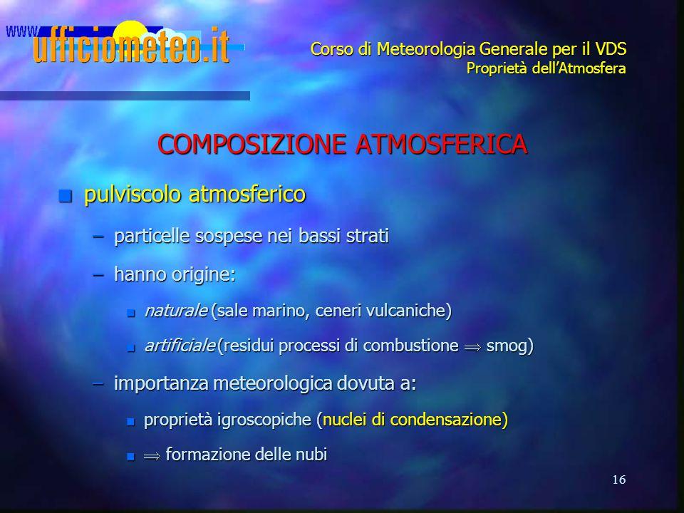 16 Corso di Meteorologia Generale per il VDS Proprietà dell'Atmosfera COMPOSIZIONE ATMOSFERICA n pulviscolo atmosferico –particelle sospese nei bassi