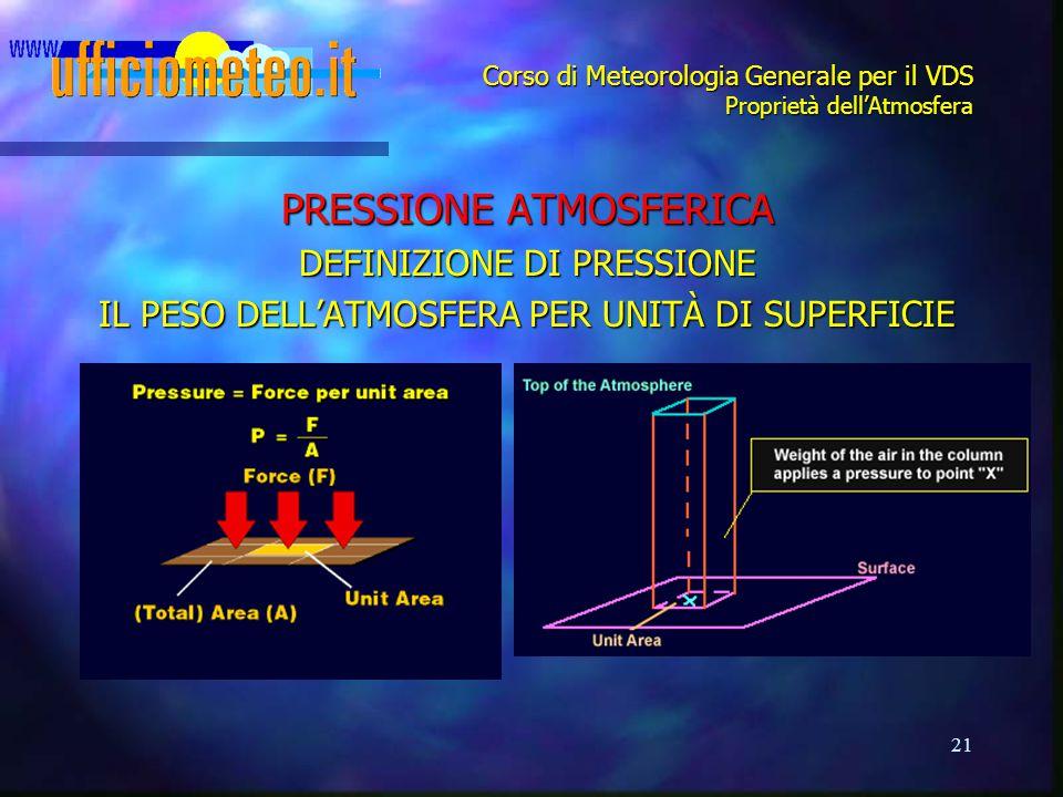 21 Corso di Meteorologia Generale per il VDS Proprietà dell'Atmosfera PRESSIONE ATMOSFERICA DEFINIZIONE DI PRESSIONE IL PESO DELL'ATMOSFERA PER UNITÀ