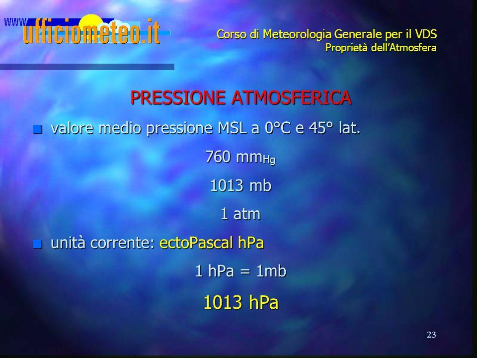23 Corso di Meteorologia Generale per il VDS Proprietà dell'Atmosfera PRESSIONE ATMOSFERICA n valore medio pressione MSL a 0°C e 45° lat. 760 mm Hg 10