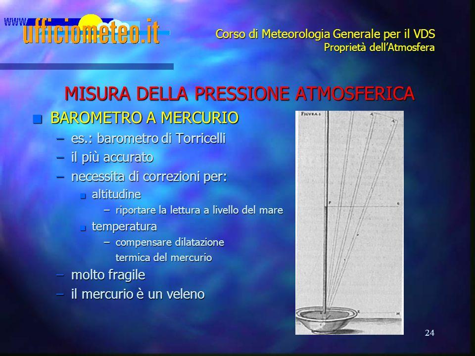 24 Corso di Meteorologia Generale per il VDS Proprietà dell'Atmosfera MISURA DELLA PRESSIONE ATMOSFERICA n BAROMETRO A MERCURIO –es.: barometro di Tor