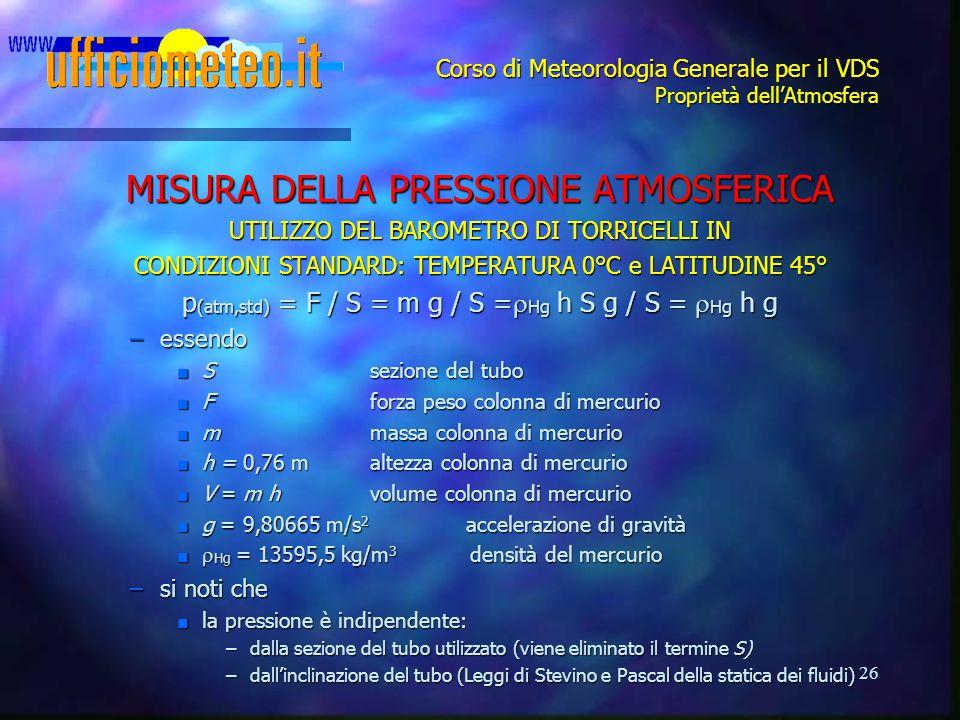 26 Corso di Meteorologia Generale per il VDS Proprietà dell'Atmosfera MISURA DELLA PRESSIONE ATMOSFERICA UTILIZZO DEL BAROMETRO DI TORRICELLI IN CONDI