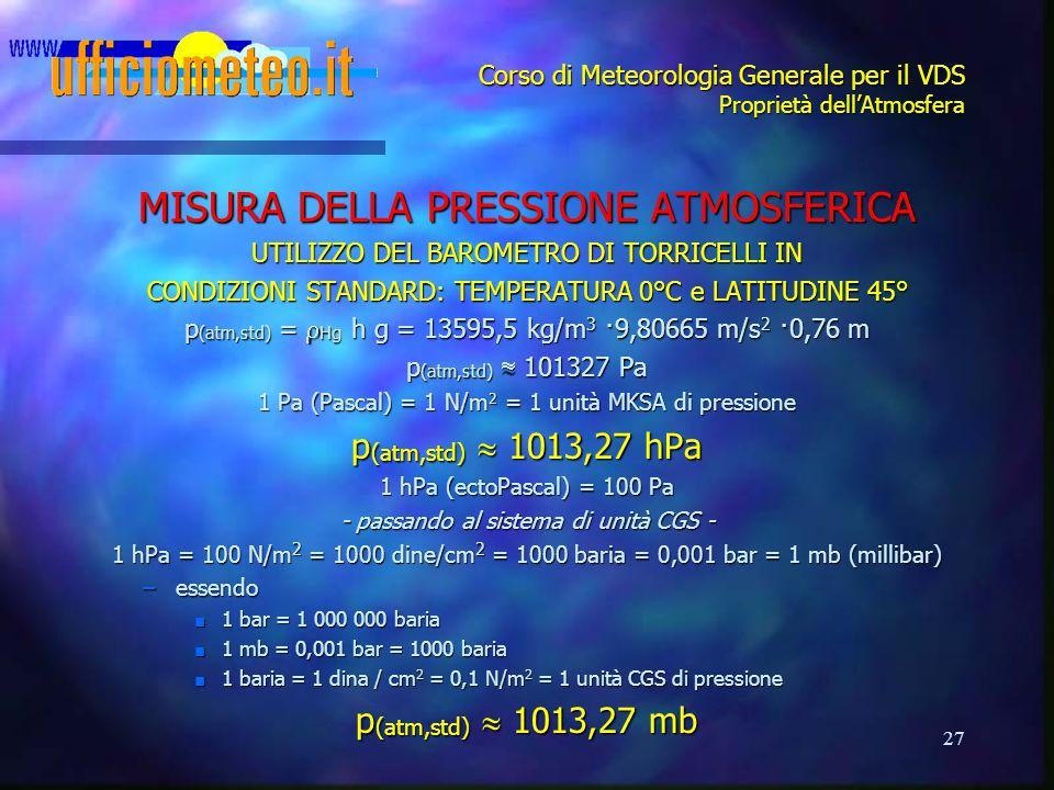 27 Corso di Meteorologia Generale per il VDS Proprietà dell'Atmosfera MISURA DELLA PRESSIONE ATMOSFERICA UTILIZZO DEL BAROMETRO DI TORRICELLI IN CONDI