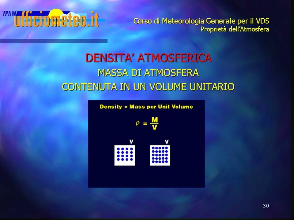 30 Corso di Meteorologia Generale per il VDS Proprietà dell'Atmosfera DENSITA' ATMOSFERICA MASSA DI ATMOSFERA CONTENUTA IN UN VOLUME UNITARIO