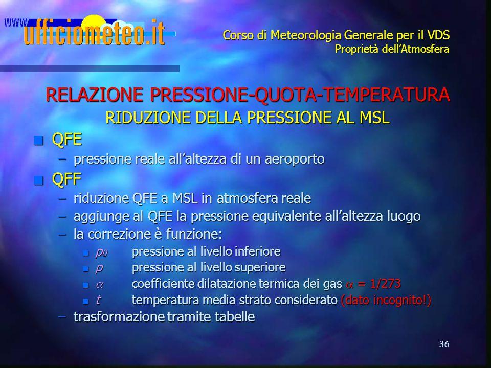 36 Corso di Meteorologia Generale per il VDS Proprietà dell'Atmosfera RELAZIONE PRESSIONE-QUOTA-TEMPERATURA RIDUZIONE DELLA PRESSIONE AL MSL n QFE –pr
