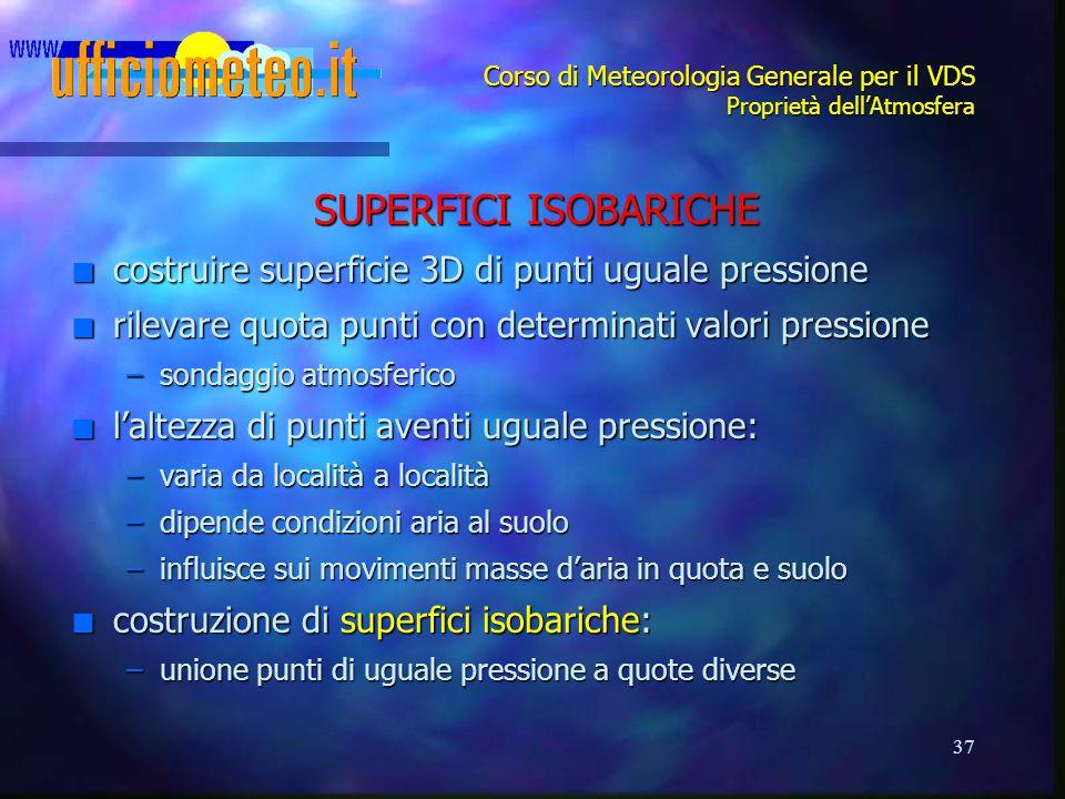 37 Corso di Meteorologia Generale per il VDS Proprietà dell'Atmosfera SUPERFICI ISOBARICHE n costruire superficie 3D di punti uguale pressione n rilev