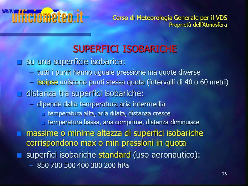 38 Corso di Meteorologia Generale per il VDS Proprietà dell'Atmosfera SUPERFICI ISOBARICHE n su una superficie isobarica: –tutti i punti hanno uguale