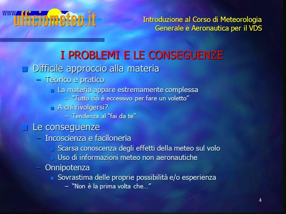 4 Introduzione al Corso di Meteorologia Generale e Aeronautica per il VDS I PROBLEMI E LE CONSEGUENZE n Difficile approccio alla materia –Teorico e pr