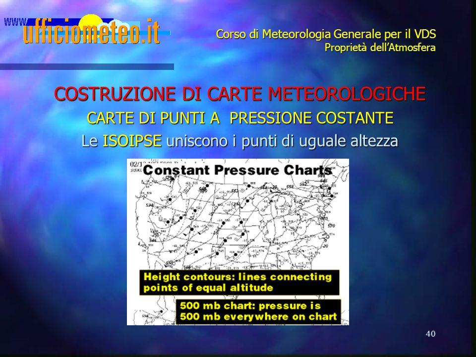 40 Corso di Meteorologia Generale per il VDS Proprietà dell'Atmosfera COSTRUZIONE DI CARTE METEOROLOGICHE CARTE DI PUNTI APRESSIONE COSTANTE Le ISOIPS