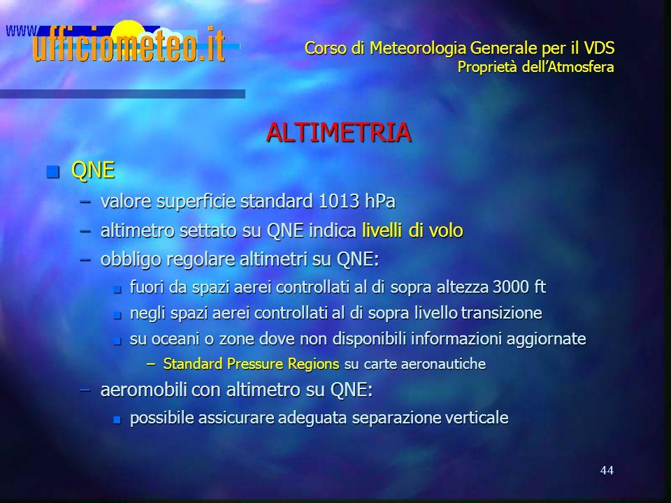 44 Corso di Meteorologia Generale per il VDS Proprietà dell'Atmosfera ALTIMETRIA n QNE –valore superficie standard 1013 hPa –altimetro settato su QNE
