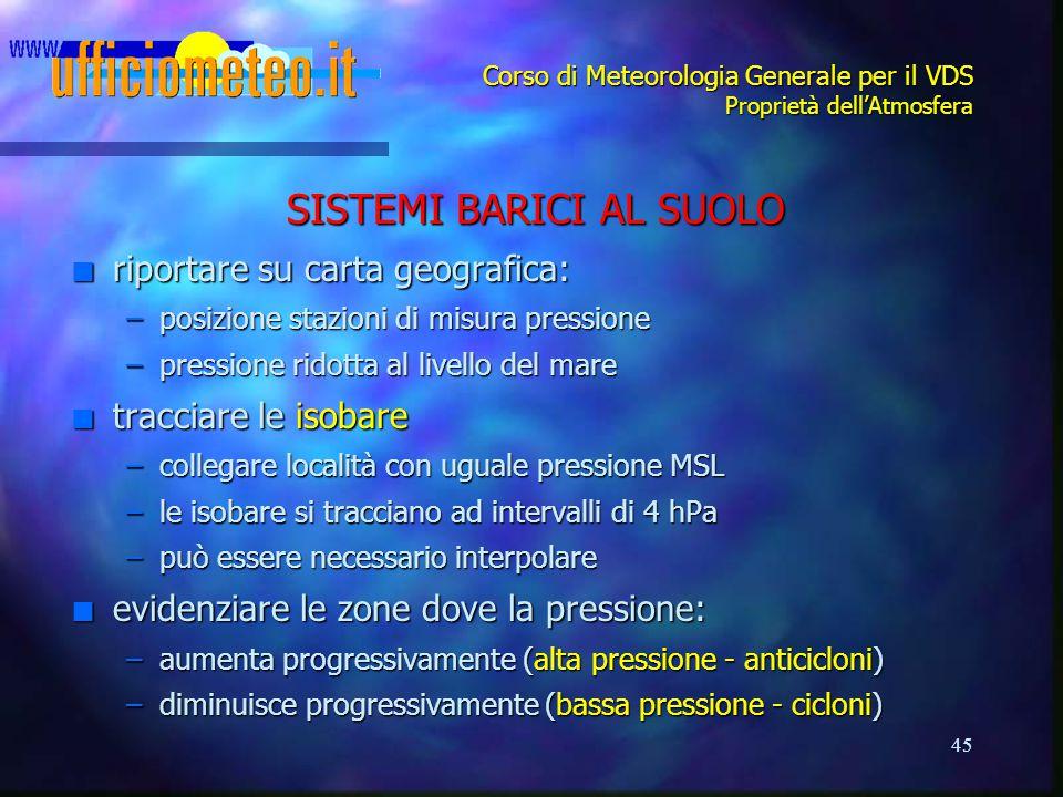 45 Corso di Meteorologia Generale per il VDS Proprietà dell'Atmosfera SISTEMI BARICI AL SUOLO n riportare su carta geografica: –posizione stazioni di