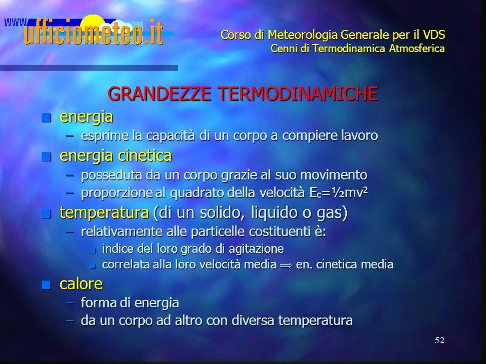 52 Corso di Meteorologia Generale per il VDS Cenni di Termodinamica Atmosferica GRANDEZZE TERMODINAMICHE n energia –esprime la capacità di un corpo a