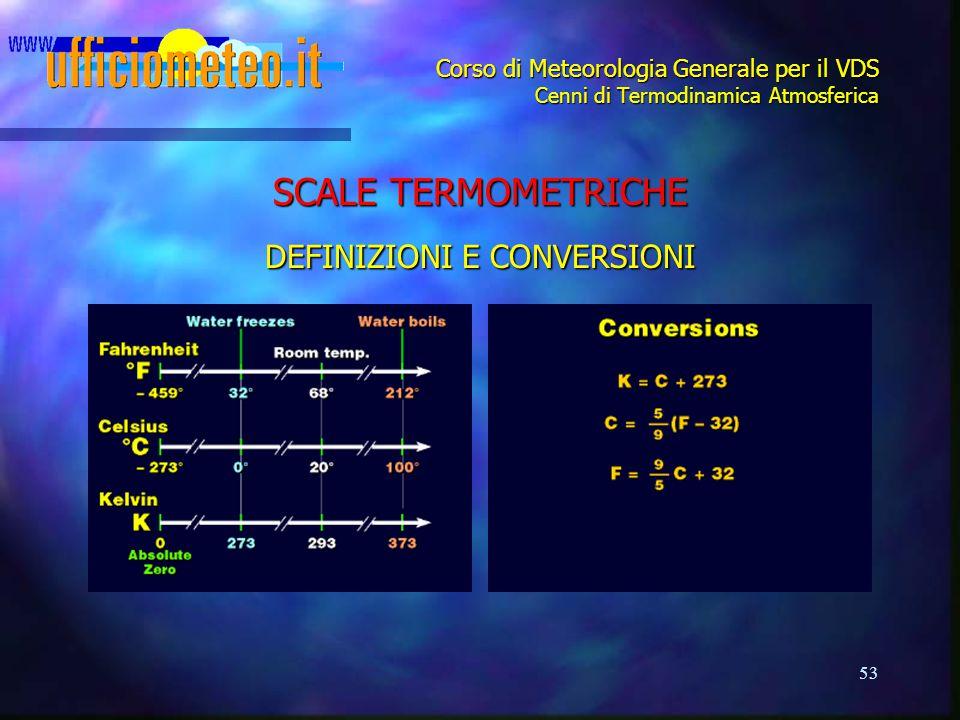 53 Corso di Meteorologia Generale per il VDS Cenni di Termodinamica Atmosferica SCALE TERMOMETRICHE DEFINIZIONI E CONVERSIONI